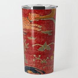 Animal Grotesques Mughal Carpet Fragment Digital Painting Travel Mug