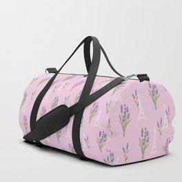 Elegant lavender lilac white Paris Eiffel Tower floral Duffle Bag
