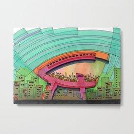 City Sky Cave Architectural Illustration 70 Metal Print