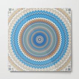 Pattern Faded Blues Mandala Metal Print