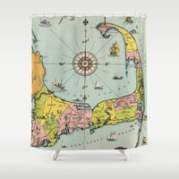 cape cod Shower Curtains featuring Vintage Map of Cape Cod by BravuraMedia