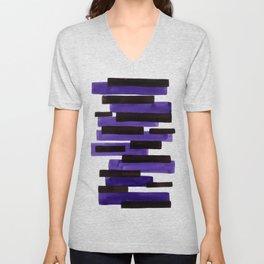 Purple Primitive Stripes Mid Century Modern Minimalist Watercolor Gouache Painting Colorful Stripes Unisex V-Neck