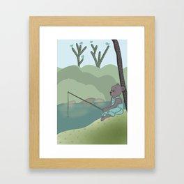 Fishing Bear, nursery, original artwork Framed Art Print