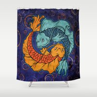 koi fish Shower Curtains featuring Koi Fish by Spooky Dooky