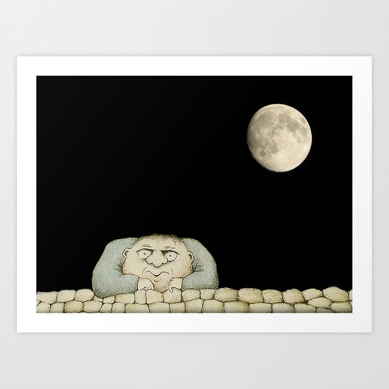 Full Moon, Empty Head  Art Print