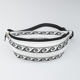 Black and white Greek wave pattern Fanny Pack