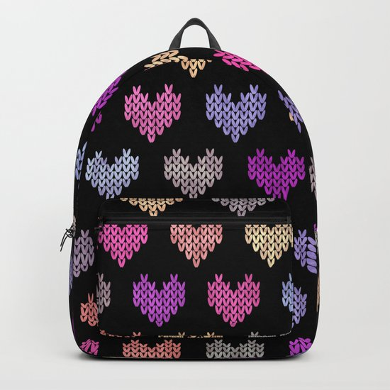 Colorful Knitted Hearts IV Backpack