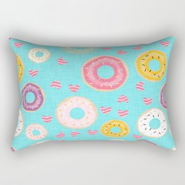 hearts and donuts blue Rectangular Pillow