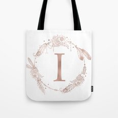 Letter I Rose Gold Pink Initial Monogram Tote Bag