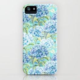 Blue floral hydrangea flower flowers Vintage watercolor pattern iPhone Case