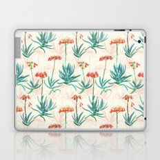 Flowering Succulent Pattern in Cream, Coral and Green Laptop & iPad Skin