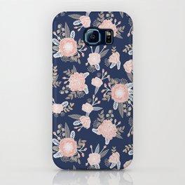 Floral bouquet pastel navy pink florals painted painted metallic pattern basic minimal pattern print iPhone Case