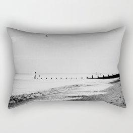 black and white Southwold beach photograph Rectangular Pillow