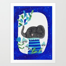 elephant with raindrops in blue watercolor illustration Art Print