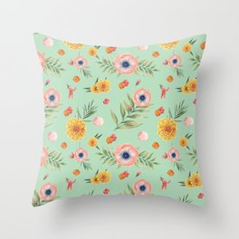 Hand painted coral yellow watercolor geometric floral Throw Pillow