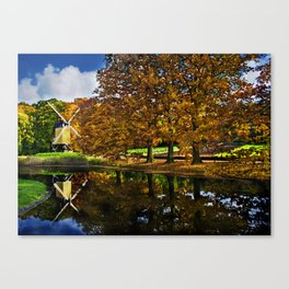 Autumn landscape with a windmill and pond in the Netherlands  Canvas Print