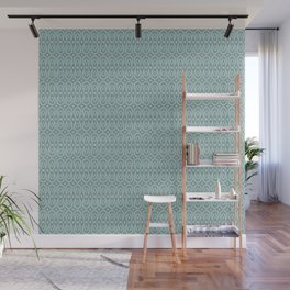 Ikat Teardrops in Sea Foam, Teal, Gray Wall Mural