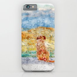 Aquarelle sketch art. Lonely dog watching on Gibraltar strait iPhone Case