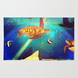 Beautiful Sea Turtles Under The Ocean Painting Rug