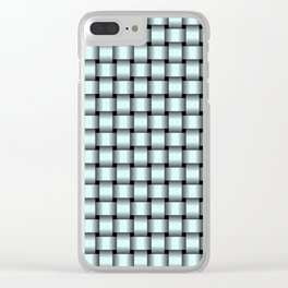 Small Light Cyan Weave Clear iPhone Case