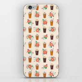 Coffee floral bouquet coffee lovers java bean cute pattern print for kitchen iPhone Skin