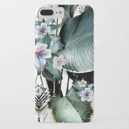Banana leaf tropical paradise, leaves, hibiscus, Hawaii iPhone Case