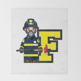 F is for Fireman Throw Blanket