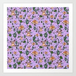 Cute Cactus and Fennec Fox Art Print