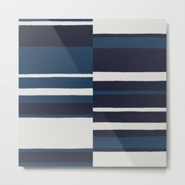 painted broken stripe-blue Metal Print