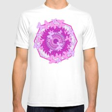 Butterflies and kaleidoscope in pink Mens Fitted Tee MEDIUM White
