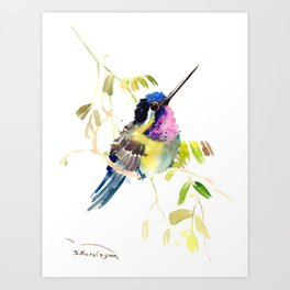 Little bird children illustration hummingbird Art Print