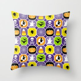 Halloween Pattern - Ghosts, Skulls, Flying Witches, Bats, Spiders, Pumpkins, Candy Corn Throw Pillow