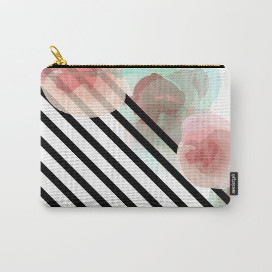 Watercolor Floral with Stripes Carry-All Pouch
