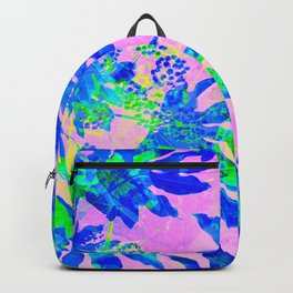 Tropical Adventure - Neon Blue, Pink and Green #tropical #homedecor Backpack