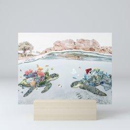 Coral & Trash Turtles • Save the Planet Mini Art Print