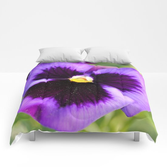 Pretty Purple Pansies Comforters