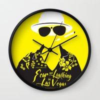 fear and loathing Wall Clocks featuring Fear and Loathing in Las Vegas by Jordi Hayman