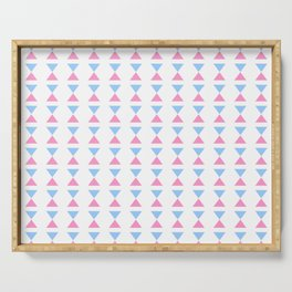 Symmetric triangle 18 pink and blue Serving Tray