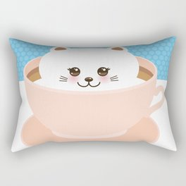 Cute Kawai cat in pink cup, coffee art Rectangular Pillow