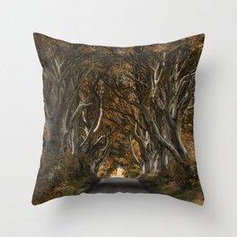 Dark Hedges alley in autumn Throw Pillow