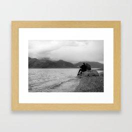 Couple at Pangong Tso Lake in Ladakh - Indian Himalayas Framed Art Print