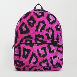 Fuchsia pink black leopard animal print gradient pattern Backpack