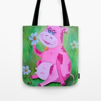 cow Tote Bags featuring Cow by OLHADARCHUK