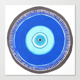 Blue and Silver Evil Eye Mandala Canvas Print