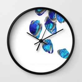 Blue And White Abstract Art - Falling 1 - Sharon Cummings Wall Clock