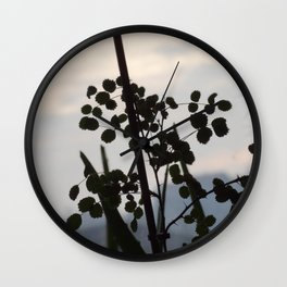 Shadowy rose leaves Wall Clock