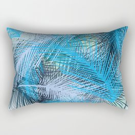 Jungle pampa blue forest. Tropical fresh forest pattern with palms Rectangular Pillow