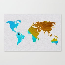 Colorful Art World Map Illustration Blue and Brown Canvas Print