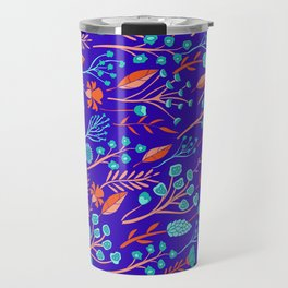 Purple, Orange & Turquoise Blue Floral Pattern Travel Mug