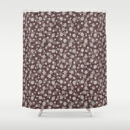 Festive Brown Granite and White Christmas Holiday Snowflakes Shower Curtain
